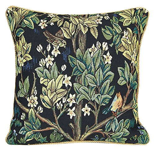 Décoration Fleur Taie d'Oreiller 45x45cm de Signare - Tapisserie Pour Canapé Chaise Siège Salon - William Morris/Tree of Life-Blue CCOV-ART-MORRIS-2