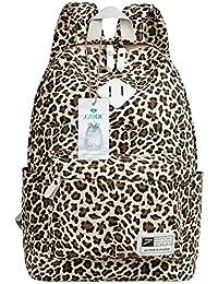 Clásico leopardo lienzo portátil de 14pulgadas Mochila escolar viaje Mochila Satchel