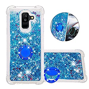 FAWUMAN Liquid Sparkly Quicksand TPU Gel Silicone Shockproof Phone Cover[Diamond Ring] Cases for Samsung Galaxy J8(2018) (Blue love)   9