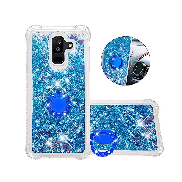 FAWUMAN Liquid Sparkly Quicksand TPU Gel Silicone Shockproof Phone Cover[Diamond Ring] Cases for Samsung Galaxy J8(2018) (Blue love) FAWUMAN 1.Compatible Model:Samsung Galaxy J8(2018), glitter liquid case specially for teenage, girls and women. 2.3D Quicksand creative cover, make your mobile phone Shiny Luxury Sparkle Glitter around.the inside quicksand flowing freely, make your mobile phone special and gorgeous, bring more fun to you. 3.Made of hight quality TPU: Scratch resistant and shock absorbent soft TPU covers all four corners offering all around shock absorbent drop protection keeping phone safe from dents, scratches, and other daily wear. 1