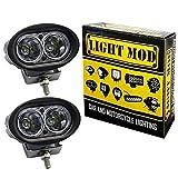 #6: 2pc. LightMod Oval 20W 20 Watt Bike Auxillary Fog Lamp Light Spot Light Bulb Offroad Motorcycle LED