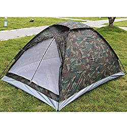 Firstchoicesale-2 Person Camping Tent Single Layer Waterproof Outdoor Portable with Carry Bag Camouflage