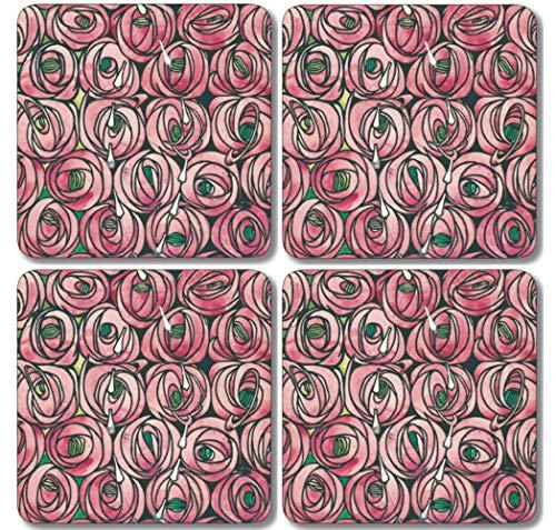 Buzz Untersetzer/Getränkedecker, Melamin, bunt, 4er-Set - Rennie Mackintosh Cluster of Pink Roses Design - 9,5 cm -