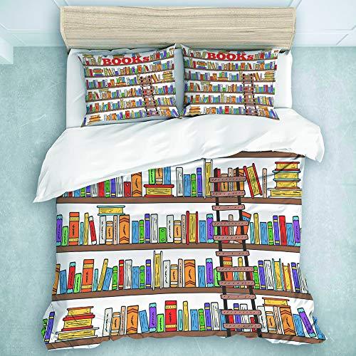 TARTINY Bedding Bedrucktes Bettbezug-Sets Bücherleiter für Speicher Mikrofaser Kinder Student Schlafsaal Bettwäsche Set