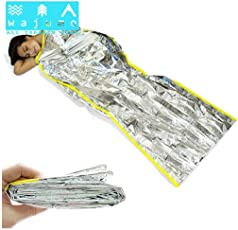 Wajumo-ATG Emergency Thermal Sleeping Bag | 200X100 cm | Coated PET Foil | Light Weight Insulation Sleeping Bag/Emergency Shelter | Outdoor Survival & Rescue Gear