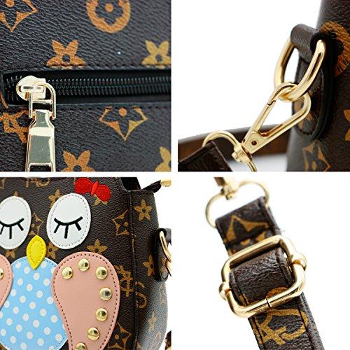Scheppend Mini Cartoons Eule Tasche Tasche Leder Eule Handtasche für weibliche Mädchen Augen geschlossen