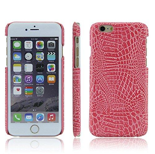 Qissy® Leder-Mappen-Kasten für Iphone 6 Plus / 6s plus 5,5 Zoll Krokodil Muster Telefon Schale Karte Handy Leder Schutzhülle (Iphone 6 Plus / 6s plus 5,5 Zoll, schwarz) Rosa