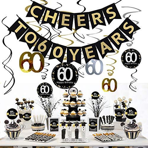 Sayala 60. Geburtstag Party Dekoration Kit - 60. Geburtstag Spirale Deckenhänger,Cheers zu 60 Jahre Banner Golden Bunting,60. Geburtstag Cake Topper mit 60. Geburtstag Weinflaschen-Etiketten