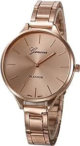 Geneva Platinum Analogue Women's Watch (Rose Gold Dial Rose Gold Colored Strap)