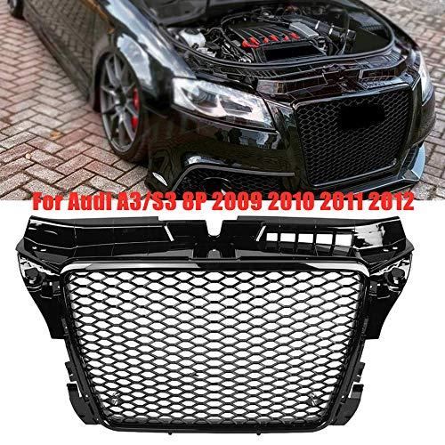 HJHNB RS3-Stil Hex Mesh Honeycomb Hood Kühlergrill Grill Grille für Audi A3/ S3 8P 2009 2010 2011 2012, Auto Stoßstange Kühler dekorative Modifikation Ersatz, glänzend schwarz