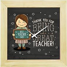 YaYa Cafe Teachers Day Gifts, Desk Clock Thank You Great Teacher Canvas