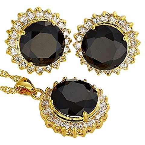 Rizilia Jewellery 18K Yellow Gold Plated Round Cut Prong Cluster Black Onyx Color Gem Slide Pendant Curb Chain Necklace With (Length 46cm/18inch ) Stud Earrings Jewelry Set[Free Jewelry Box]