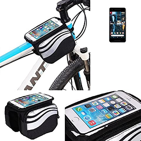 For Google Pixel 2: Cycling Frame Bag, Head Tube Bag, Front Top Tube Frame Pannier Double Bag Pouch Holder Crossbar Bag, black-silver water resistant -