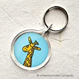 Schlüsselanhänger Giraffe blau