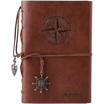 Journal en cuir ordinateur portable, carnet à spirales rechargeable Maleden rechargeable Journal de voyage en relief classique avec pages vierges et pendentifs vintage marron