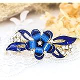 Jovono - Fermaglio per capelli da sposa, accessorio per capelli con fiore per donne e ragazze, colore: blu