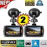 Kingko 2x Auto 1080 P 2,4 Full HD DVR Fahrzeug Kamera Dash Cam Video Recorder G-sensor Nachtsicht (Schwarz)