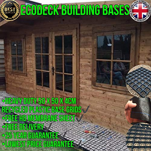 GARDEN SHED OR GREENHOUSE BASE ECO-FRIENDLY GRAVEL GRIDS – SUITS BOTH 7X5 & 8X5 FEET (2.5 x 1.5 METRE) BASES + INCLUDED FREE HEAVY DUTY MEMBRANE