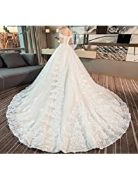 der Wortschulter-Prinzessin Qi Luxustraumpalast-Hochzeitskleid abnimmt gro/ßer Schwanz der Braut WLM Meili Hochzeitskleid