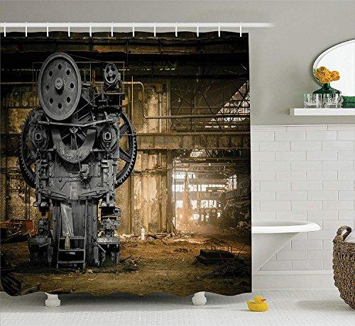 adacrazy serie decorativa vintage azienda metallurgica attesa rimuovere riparazione della grande città disordinata polverosa tende doccia bagno rivestite tessuto impermeabile poliestere 71x71 pollici