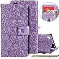 Herbests Handytasche für Sony Xperia XA1 Plus Handyhülle Prägung Blumen Muster Retro Klappbar Flip Tasche Leder Tasche Brieftasche Leder Hülle Handytasche Cover Kartenfächer,Lila