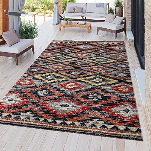Tt home tappeto moderno da esterni, resistente alle intemperie, adatto ad ambienti interni ed esterni, design nomade, multicolore, größe:80x150 cm