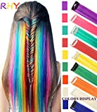 RHY 9 PCS Rainbow Haiepieces Princess Fun Highlights Coloured Hair Extension Costume Hairpieces for Baby Girls/Dolls
