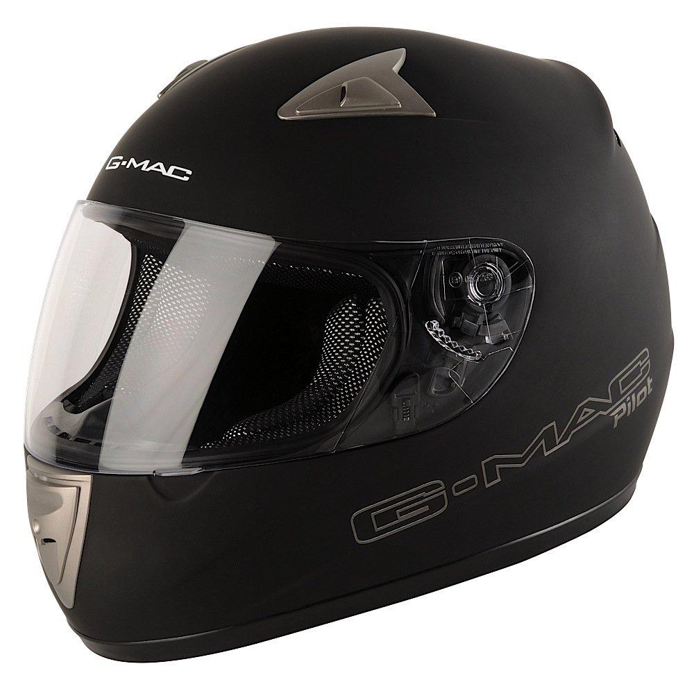 G-MAC - Casco Moto Pilot Mono, Nero Opaco, XL