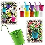 10 Stück Hängetöpfe Blumentöpfe mit Haken Metall Hängend Balkontopf Pflanztopf Set Für Blumen, Für Balkon, Zaun, Gartenzaun