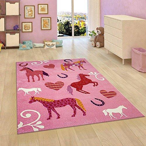 Kinder Teppich Pink Mädchen Schlafzimmer Teppich Tiere Herzen Pferde Dick Weich Kinderzimmer Matte -