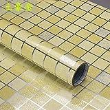 Mosaik Fliesen Bad Küche Folie Aufkleber mit hoher Temperaturbeständigkeit Wasserdichte und Öl Paste 0,45 X 2 M, Gold, 0,45 X 2 M