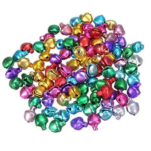 ICYANG 200Stück lose Perlen Mini Jingle Bells Tinkle Bell Weihnachten Party Dekoration zum Aufhängen Anhänger DIY Basteln Mehrfarbig