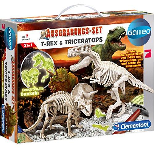Unbekannt Galileo - Ausgrabungsset T-Rex und Triceratops fluoreszierend - Hammer Meißel Experimentierkasten