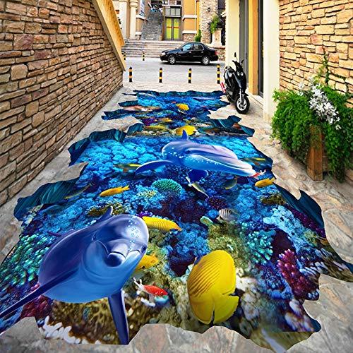 HHCUIJ Fototapete Benutzerdefinierte Selbstklebende Boden Wandbild Submarine World Dolphin Coral 3D Bodenfliesen Tapete Outdoor Mall Wear Rutschfeste Tapete 3 D,SIZE:280X200CM