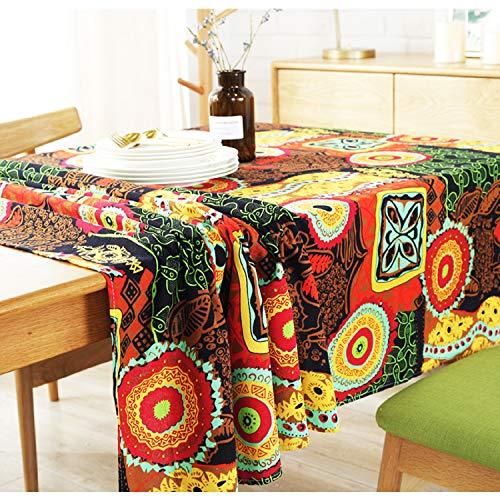 Sigetree Tischdecke aus Baumwollleinen, waschbar, rechteckig, für Zuhause, Abendessen, Urlaub, Party, Dekoration, mehrere, Baumwolle, Hot Bohemian Pattern, 55 Inch x 55 Inch
