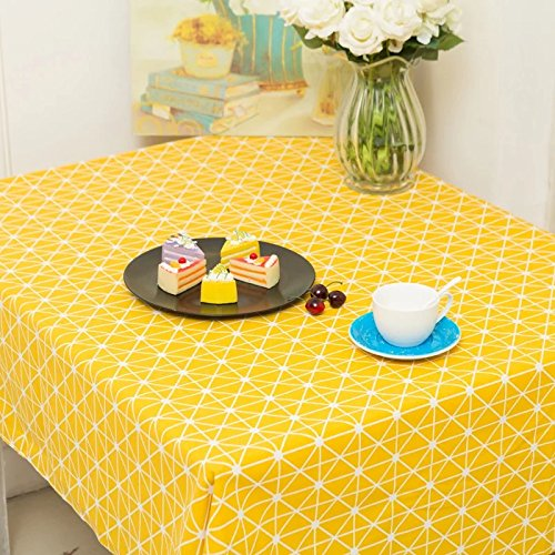 Creek Ywh Nordische einfache gelbe Tischdecke schwarz-weiß gepunktet kleine Kiefer Geschirr Baumwolle und Leinennetz rote Schlafsaal Tischdecke Couchtisch, gelbe Schachbrett Tischdecke, 100 * 140