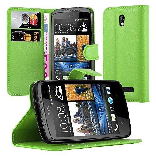 Cadorabo Hülle für HTC Desire 500 Hülle in Minz Grün Handyhülle mit Kartenfach & Standfunktion Case Cover Schutzhülle Etui Tasche Book Klapp Style Minz-Grün