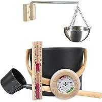 Ensemble De Seau De Sauna 7L Avec Cuillère À Long Manche Sablier Thermomètre/Hygromètre Kit De Tasse D'huile D…