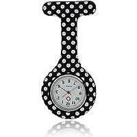 Lizzy Fashion Silicone Nurse Watch Durable Brooch Fob Medical Watch (Polka Dot Black)