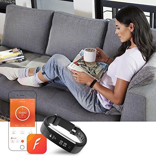 moreFit Slim 2 Fitness Tracker Bluetooth Smart Armband Uhr Touchscreen Schrittzähler Armband mit Schnalle für iphone 8/7/7 Plus / 6 / Samsung S8 / Galaxy / IOS / Android, Schwarz - 6