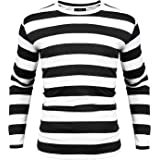 iClosam Men's Crew Neck Red & White Striped T-Shirt White Black Stripe Long Sleeve Top & Shirts