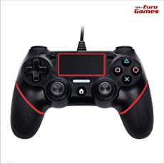 RPM - Euro Games Ps4 controller - Red. Wired Ps4 Remote Controllers, Dualshock 4, Gamepad Joystick - By Euro Games. Also works as - PS4 Pro, PS4 Slim Controller.
