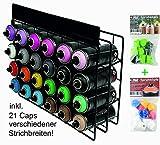 Spraydosen Set inkl. Montana Spühdosen Regal Studio Rack 24 Cans und Ersatzsprühköpfe