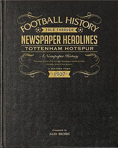 Black Leather Bound Personalised Football Newspaper Book - Tottenham