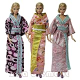 ZITA ELEMENT® 3 Set Femme Japonaise Kimono Costume Tenue Robes Pour Barbie Poupée Vêtements