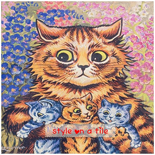 beautiful-louis-wain-mummy-tabby-cat-and-kittens-6-152mm-ceramic-tile-suitable-for-kitchens-bathroom
