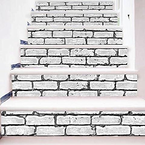 Buluke 18 * 100 cm 6 pcs DIY 3D Muster Treppe Aufkleber für Treppen Einrichtung