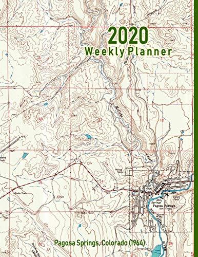 2020 Weekly Planner: Pagosa Springs, Colorado (1964): Vintage Topo Map Cover -