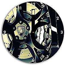 lamborghini dibujo de la rueda en el reloj de pared con negro blunt las manos y la cara, de 30 cm de diámetro, decoración perfecta para su hogar, idea regalo estupendo para jóvenes y mayores