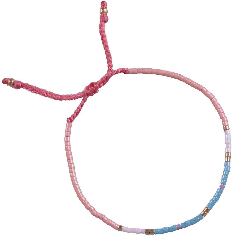 KELITCH Armband MischFarbe Rocailles Perlen Zart Schnur Freundschaftsarmbänder für Mädchen Damen - #11